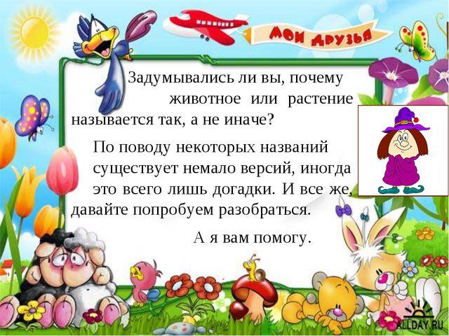 Задумывались ли вы, почему животное или растение называется так, а не иначе?...