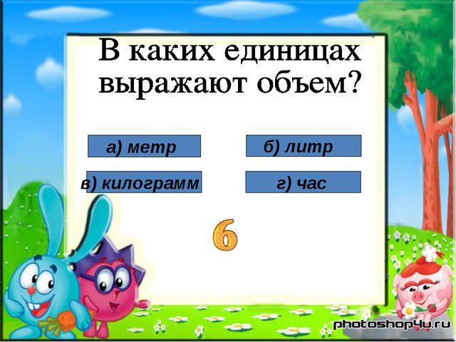 а) метр в) килограмм б) литр г) час