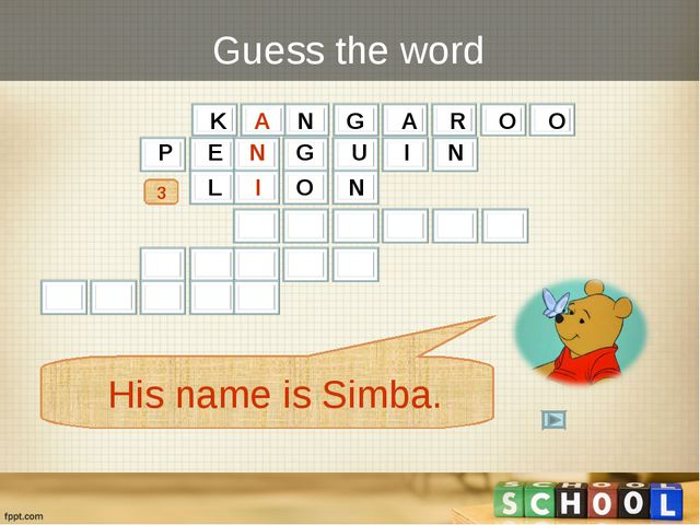 Guess the word 3 His name is Simba. P E N G U I N