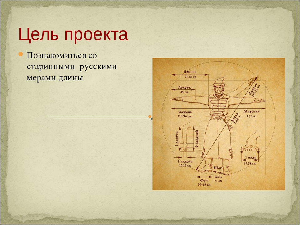 Цель проекта Познакомиться со старинными русскими мерами длины