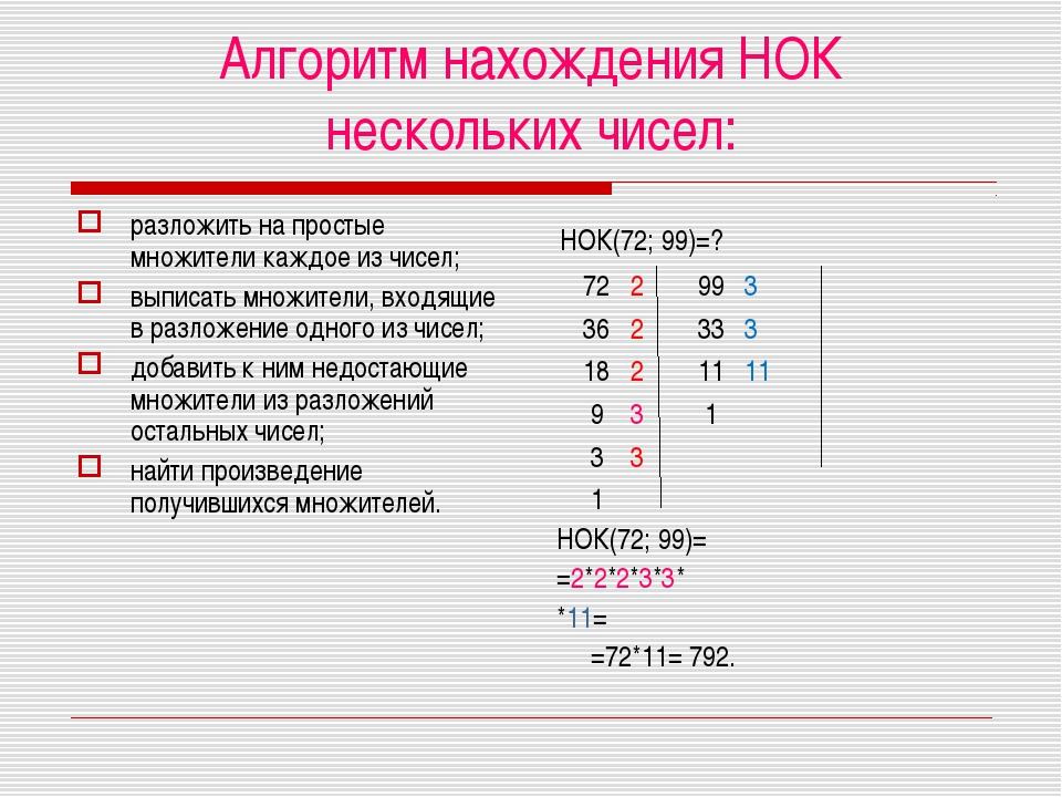 Алгоритм нахождения НОК нескольких чисел: разложить на простые множители кажд...