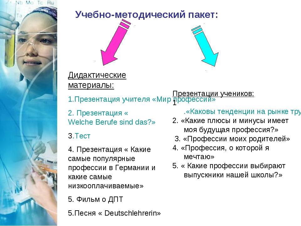 Учебно-методический пакет: Дидактические материалы: 1.Презентация учителя «Ми...