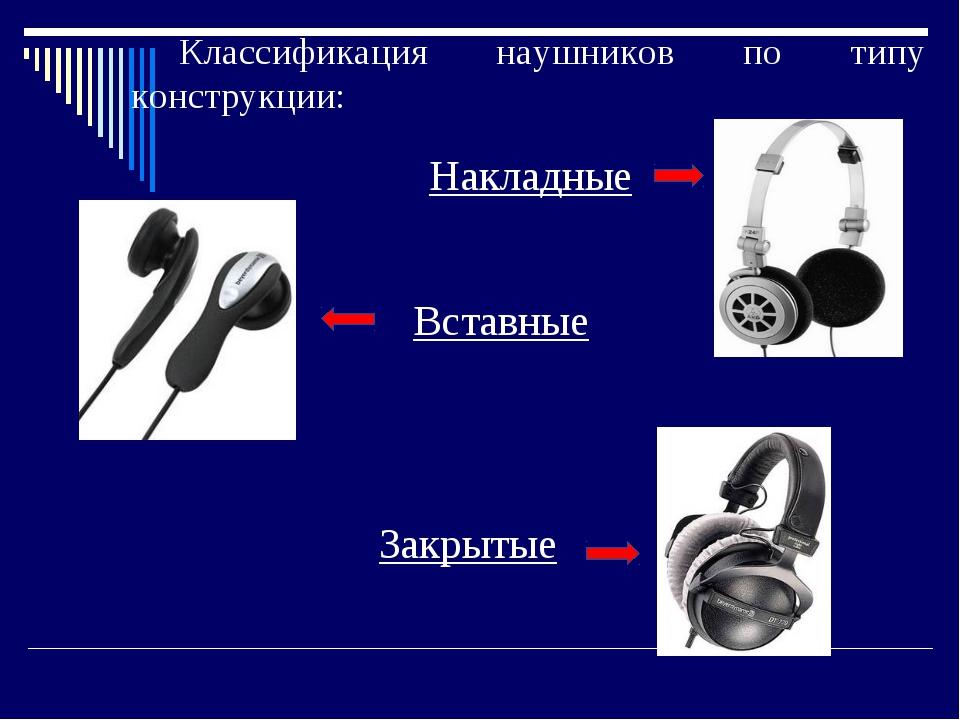 Классификация наушников по типу конструкции: Накладные Вставные Закрытые