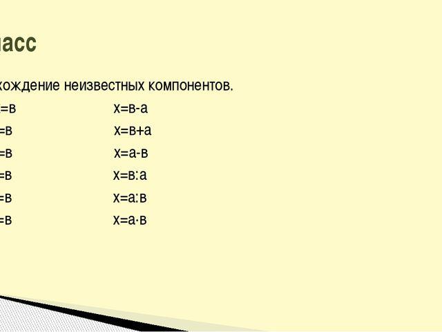 Нахождение неизвестных компонентов. а+х=в х=в-а х-а=в х=в+а а-х=в х=а-в а∙х=в...