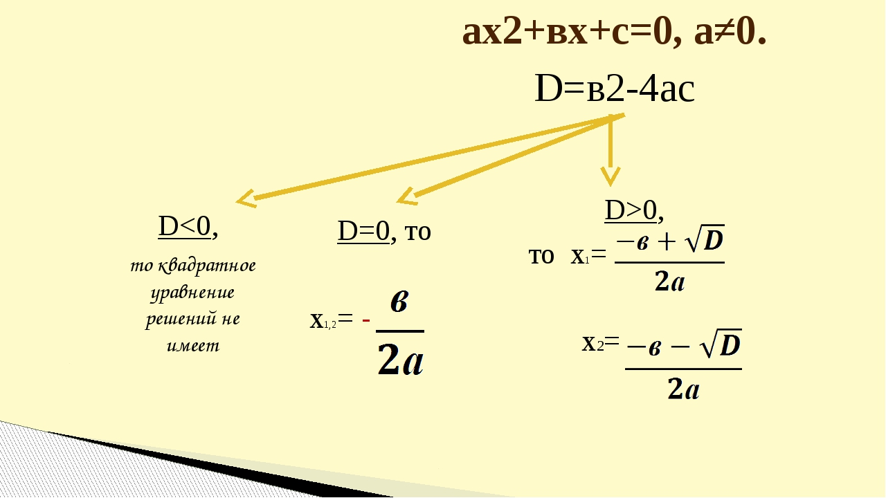 ах2+вх+с=0, а≠0. D=в2-4ас D0, то х1= х2=