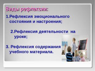 Виды рефлексии: Рефлексия эмоционального состояния и настроения; 2.Рефлексия