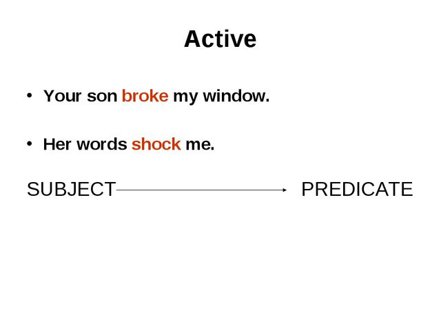 Active   Your son broke my window. Her words shock me.   SUBJECT PREDICATE