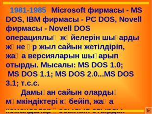 1981-1985 Microsoft фирмасы - MS DOS, IBM фирмасы - PC DOS, Novell фирмасы
