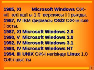 1985, ХІ Microsoft Windows ОЖ-нің алғашқы 1.0 версиясы құрылды. 1987, IVIB