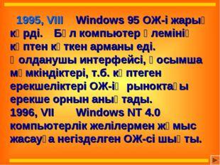 1995, VIII Windows 95 ОЖ-і жарық көрді. Бұл компьютер әлемінің көптен күтк
