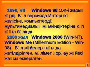 1998, VII Windows 98 ОЖ-і жарық көрді. Бұл версияда Интернет желісіне, комп