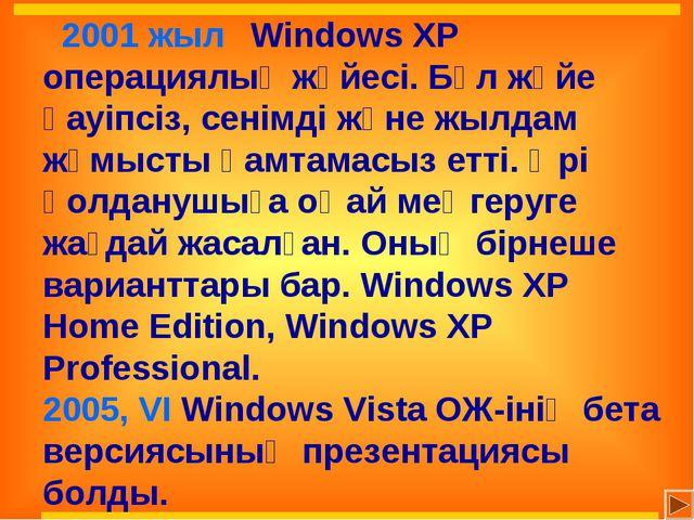 2001 жыл Windows XP операциялық жүйесі. Бұл жүйе қауіпсіз, сенімді және жыл...