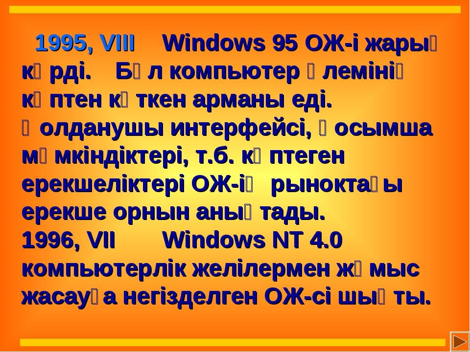 1995, VIII Windows 95 ОЖ-і жарық көрді. Бұл компьютер әлемінің көптен күтк...
