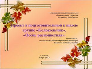 Муниципальное казенное дошкольное образовательное учреждение детский сад №3 «