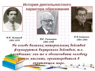 История деятельностного характера образования На основе внешних материальных