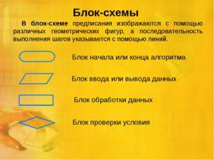 Блок-схемы В блок-схеме предписания изображаются с помощью различных геометри
