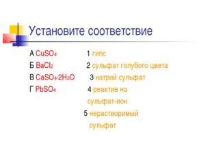 Установите соответствие А CuSO4 1 гипс Б BaCl2 2 сульфат голубого цвета В CaS