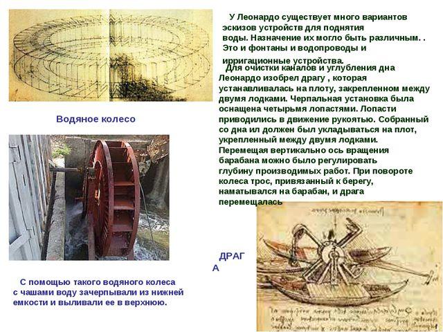 Водяное колесо ДРАГА У Леонардо существует много вариантов эскизов устройств...