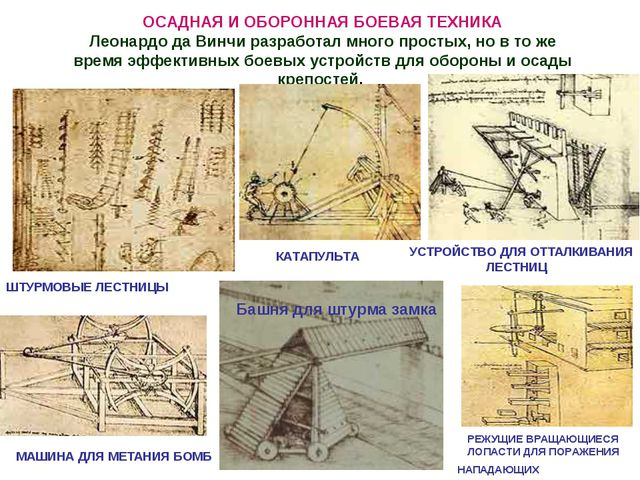 ОСАДНАЯ И ОБОРОННАЯ БОЕВАЯ ТЕХНИКА Леонардо да Винчи разработал многопростых...