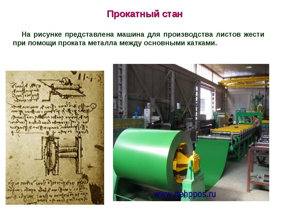 Прокатный стан На рисунке представлена машина для производства листов жести п...