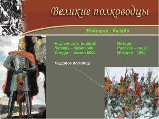 Численность воинов:Потери: Русских – около 500Русских – ок. 20 Шведов – о