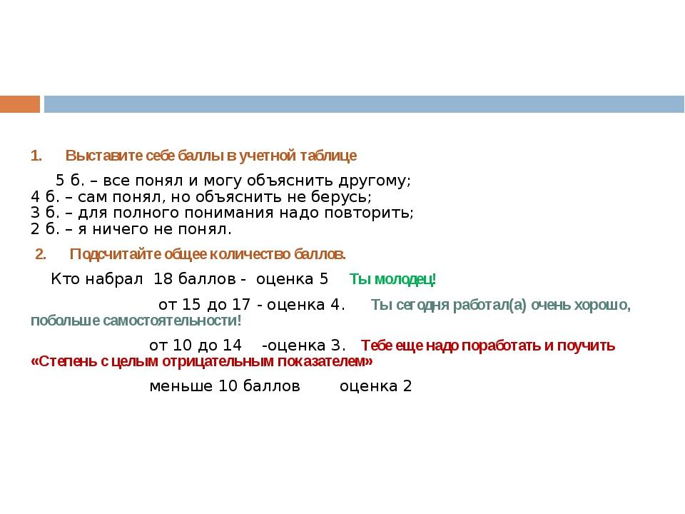 1. Выставите себе баллы в учетной таблице 5 б. – все понял и могу объяснить...