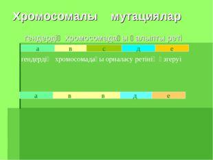 Хромосомалы мутациялар гендердің хромосомадағы қалыпты реті а в с д е в а е д
