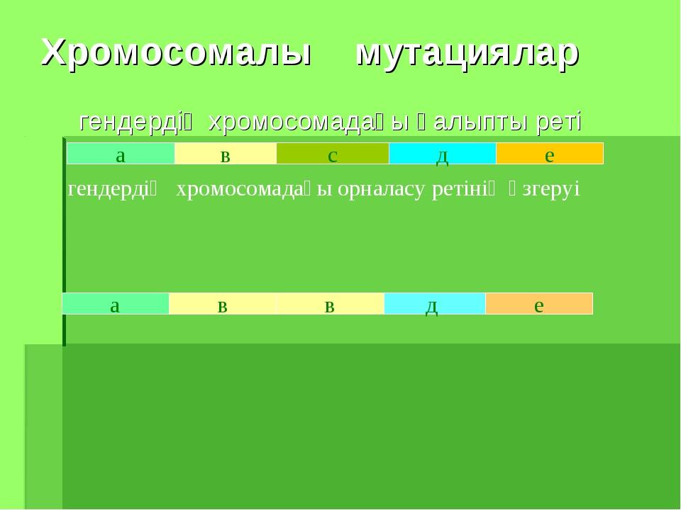 Хромосомалы мутациялар гендердің хромосомадағы қалыпты реті а в с д е в а е д...