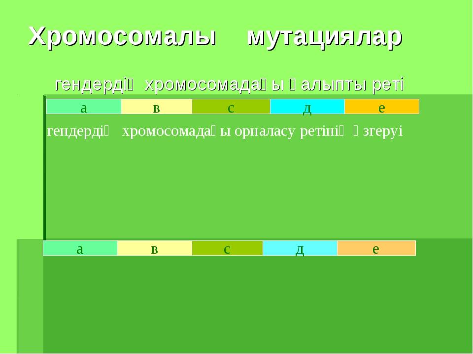 Хромосомалы мутациялар гендердің хромосомадағы қалыпты реті а в с д е в а е г...