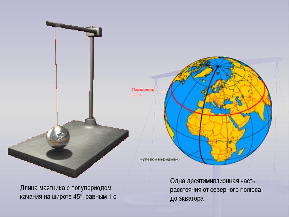 Длина маятника с полупериодом качания на широте 45°, равным 1 c Одна десятими...