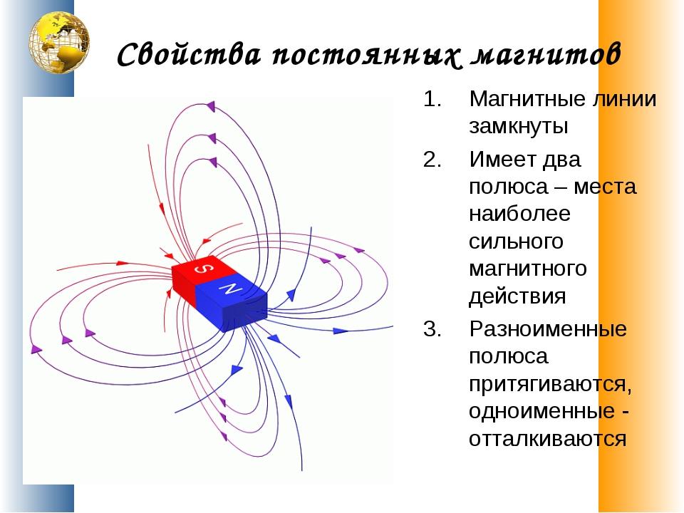 Свойства постоянных магнитов Магнитные линии замкнуты Имеет два полюса – мест...