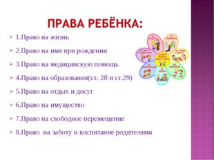 1.Право на жизнь 2.Право на имя при рождении 3.Право на медицинскую помощь 4.
