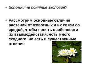 Вспомните понятие экология? Рассмотрим основные отличия растений от животных