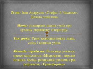 Тема: Іван Андрусяк «Стефа і її Чакалка». Дівчата повістина. Мета: розширити