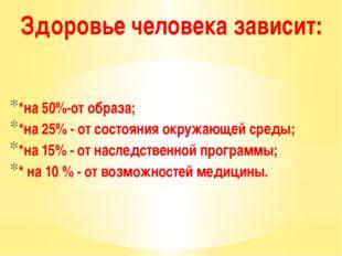 *на 50%-от образа; *на 25% - от состояния окружающей среды; *на 15% - от нас
