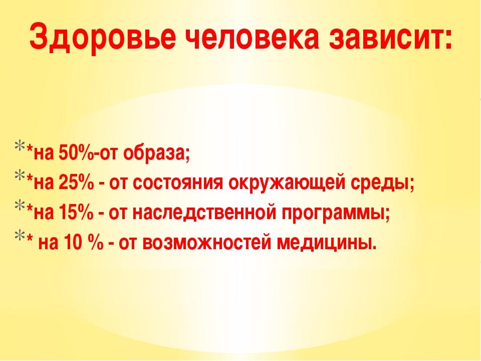 *на 50%-от образа; *на 25% - от состояния окружающей среды; *на 15% - от нас...