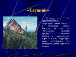 «Таганай» Находится на административной территории города Златоуста и Кусинс