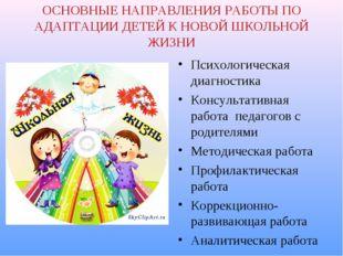 ОСНОВНЫЕ НАПРАВЛЕНИЯ РАБОТЫ ПО АДАПТАЦИИ ДЕТЕЙ К НОВОЙ ШКОЛЬНОЙ ЖИЗНИ Психоло