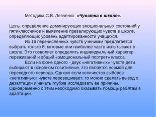Методика С.В. Левченко «Чувства в школе». Цель: определение доминирующих эмо