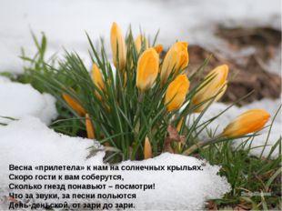Весна «прилетела» к нам на солнечных крыльях. Скоро гости к вам соберутся, Ск
