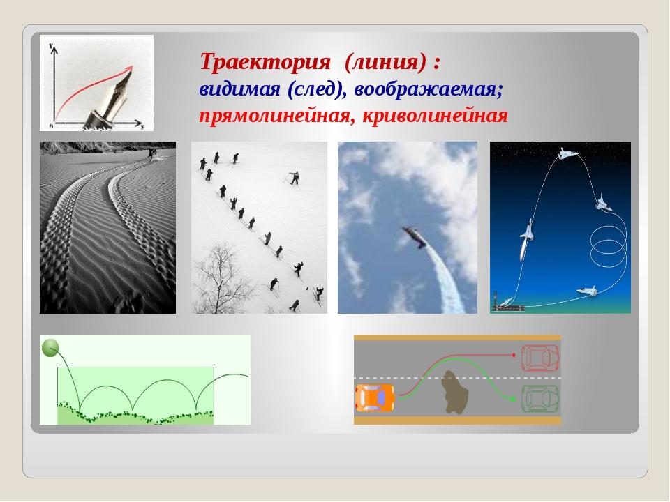 Траектория (линия) : видимая (след), воображаемая; прямолинейная, криволинейная