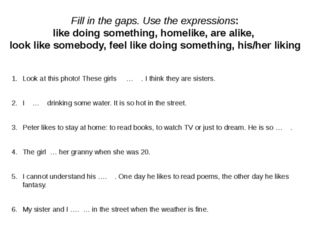 Fill in the gaps. Use the expressions: like doing something, homelike, are a