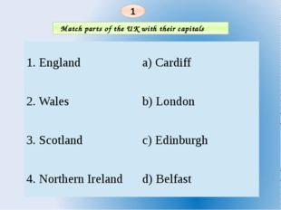 Match parts of the UK with their capitals 1 1.England a)Cardiff 2.Wales b)Lo