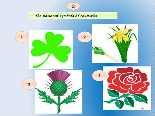 The national symbols of countries 3 2 1 4 3