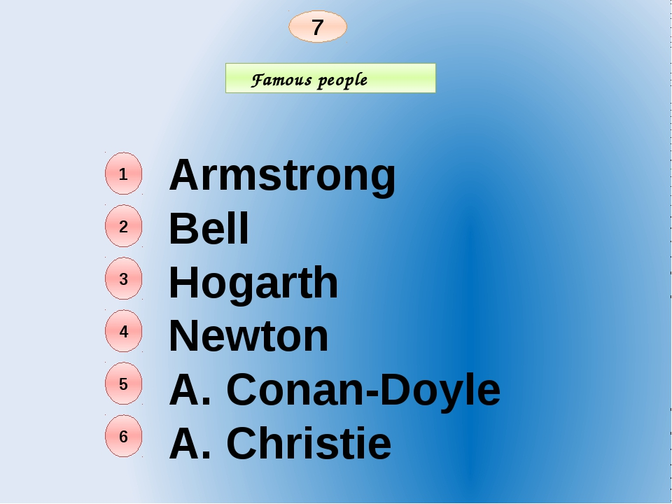 Famous people 7 Armstrong Bell Hogarth Newton A. Conan-Doyle A. Christie 1 2...