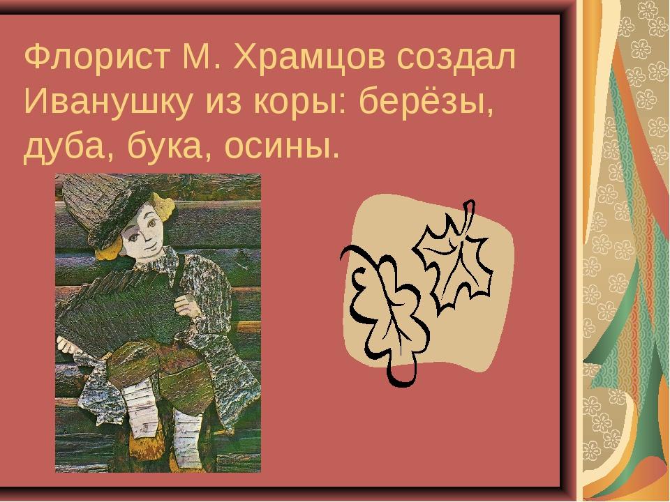 Флорист М. Храмцов создал Иванушку из коры: берёзы, дуба, бука, осины.
