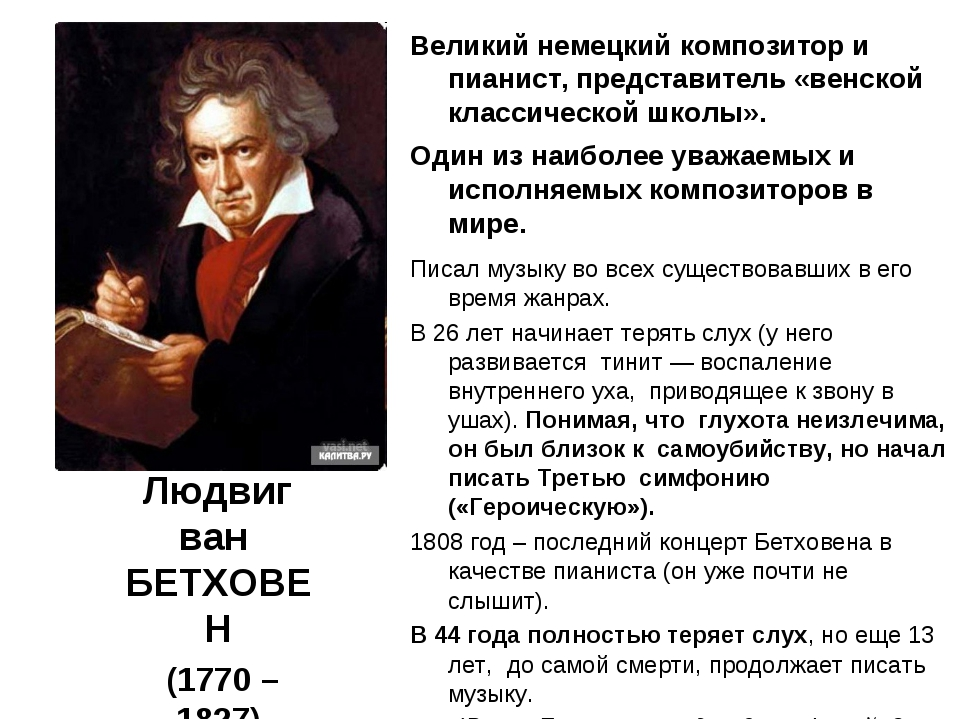 Людвиг ван БЕТХОВЕН (1770 – 1827) Великий немецкий композитор и пианист, пред...