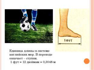 Единица длины в системе английских мер. В переводе означает – ступня. 1 фут =