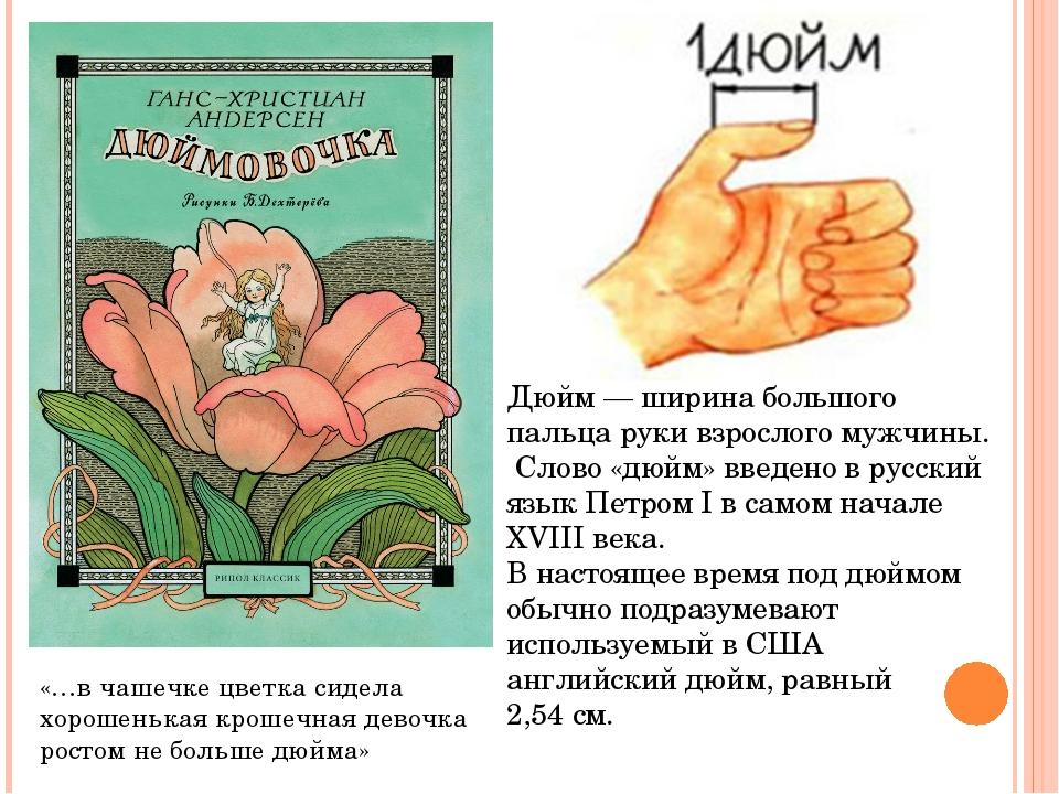 Дюйм— ширина большого пальца руки взрослого мужчины. Слово «дюйм» введено в...