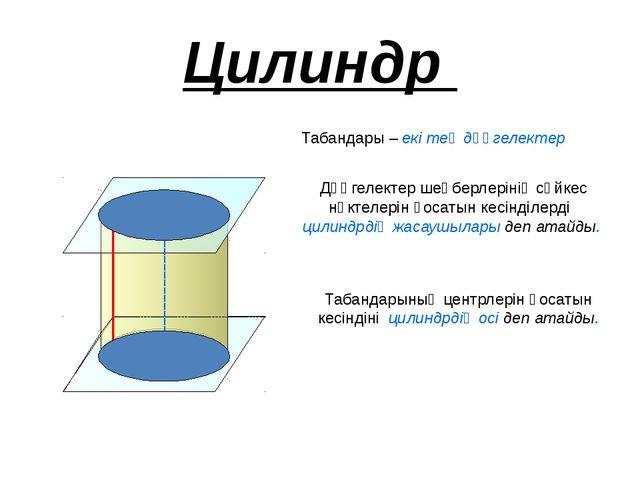 Цилиндр Табандары – екі тең дөңгелектер Дөңгелектер шеңберлерінің сәйкес нүкт...